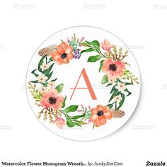 Watercolor Flower Monogram Wreath Salmon Peach Classic Round Sticker - March 10 #junkydotcom #zazzle - 6x