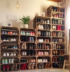 Shoe storage design Amazing 41 Affordable DIY Shoe Storage for Small Space thearchitectureho. Shoe Storage Bins, Shoe Storage Design, Shoe Storage Solutions, Closet Shoe Storage, Diy Shoe Rack, Small Space Storage, Rack Design, Storage Spaces, Garage Storage