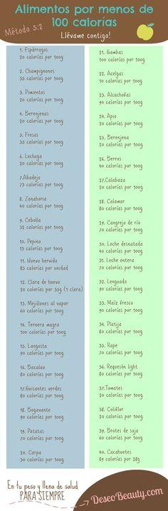 40 Alimentos con menos de 100 calorías - Infografías y Remedios. #calorías #nutrición #salud #infografía: