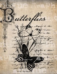 Antique Summer Butterfly French Handwriting Fancy Ornate llustration Digital Download for Papercrafts, Transfer, Pillows Burlap via Etsy.