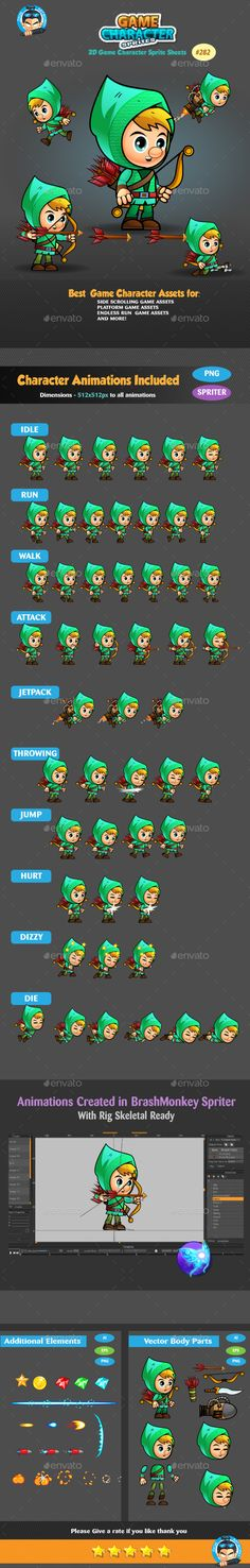Archer Game Character Sprites 282 by pasilan ANIMATIONS Game Character Sprite SheetsThis assets is for developers who want to create their mobile game apps for I Powerpoint Game Templates, Free Game Assets, Board Game Template, Word Template Design, Pixel Art Games, Game Background, Shooting Games, Game App, Mobile Game