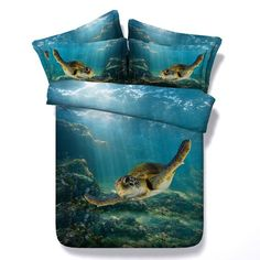 Cheap bedding sets, Buy Quality duvet cover set directly from China king size Suppliers: Luxury Swimming Turtle Blue Ocean Print 4 Pcs Duvet Cover Set Bed Linen Cotton Bedding Sets Twin Queen Super King Size 3d Bedding Sets, King Size Bedding Sets, King Duvet Cover Sets, Queen Comforter Sets, Duvet Covers, Ocean Bedding, Blue Bedding, Lit Queen Size, Animaux
