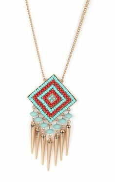 Deb Shops Long Necklace with Beaded Tribal Pendant with Fringe $7.50