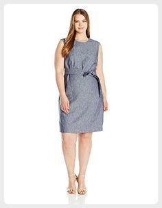 Nine West Women's Plus Size Linen Dress W/ Self Belt (2), Navy, 16W