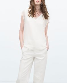 ZARA - COLLECTION AW15 - TOP WITH RIBBED NECKLINE