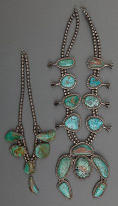 Two Navajo Silver and Turquoise Necklaces. c. 1960... (Total: 2Items)