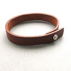 Mens womens unisex simple brown leather wrap bracelet by lowusu, $22.00