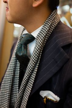 thearmoury: Alan in Liverano flannel and Drake's scarf