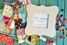 Do it Yourself Frame Craft Kit by LemonTreeStudio on Etsy Frame Crafts, Diy Frame, Rainy Day Activities, Glue Sticks, Craft Kits, Fabric Scraps, Wooden Frames, Gift Wrapping, Invitations