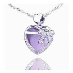 25mm Heart Bowknot 925 Sterling Silver Amethyst Dangle Pendant Fit Necklace Korean Jewelry, Fashion Jewelry, Women's Jewelry, Heart Charm, Dog Tag Necklace, Dangles, Amethyst, Bling, Bracelets