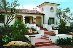 Ideas for your saterdesign.com Spanish Colonial custom home. A Santa Barbara style bell tower, heavy timber exposed beams, authentic tiled archways, and terra cotta paved courtyards.