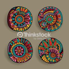 Illustration of Set of decorative hand drawn vector floral design elements vector art, clipart and stock vectors. Pottery Painting, Dot Painting, Ceramic Painting, Stone Painting, Ceramic Art, Design Floral, Design Set, Mandala Art, Painted Rocks