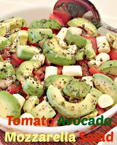 Tomato Avocado Mozzarella Salad - fabulous. use real mozzarella! String cheese is not the answer people!