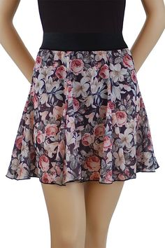"""Trienawear 18"""" floral 6 gore swing skirt TR5501B-FL P, S, or M. Cute 6-gore swing skirt with 2"""" black elastic waistband. 100% pretty floral print georgette fabrics. Size P fits waist size 22""""-26"""". Size S fits waist size 24""""-30"""". Size M fits waist size 26""""-32""""."""