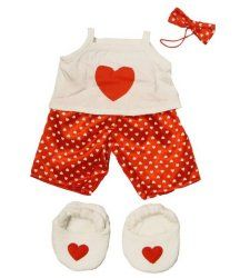 "Satin Heart Pj's With Heart Slippers Teddy Bear Clothes Outfit Fits Most 14"" - 18"" Build-A-Bear, Vermont Teddy Bears, And Make Your Own Stuffed Animals"
