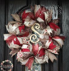 A personal favorite from my Etsy shop https://www.etsy.com/listing/188861116/red-and-gold-wreath-with-monogram-wooden