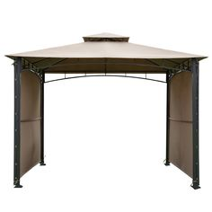 Abba Patio Beige Outdoor Art Steel Frame Backyard Party Tent (10 X 10 Ft, Beige), Brown #APASG33BW