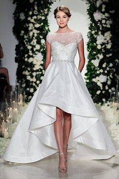 Hi-low wedding dress from Anne Barge Fall 2016 bridal collection