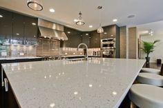 White Quartz Countertops Pearl White Quartz Countertop White Quartz Kitchen Countertops - Lee Homes Contemporary Kitchen, Kitchen Design, Epoxy Countertop, White Countertops, Modern Kitchen, Outdoor Kitchen Countertops, Granite Countertops, Countertops, Sparkle Countertops
