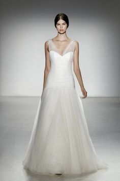 Delancey  Tulle v-neckline gown with rouched bodice and gathered skirt with beaded detail
