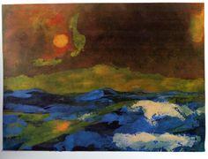 Emil Nolde, Meer mit gelber Sonne (Sea with Yellow Sun) -1941-46 on ArtStack…