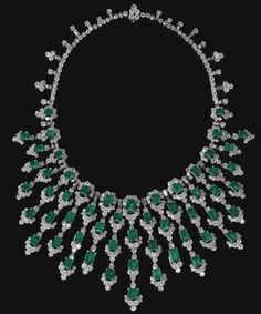 Emerald and diamond necklace, Bulgari c1970.