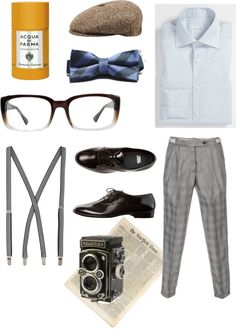 The 1920s retro-inspired men outfit that we put together. Don't forget to add a pair of classic specs.