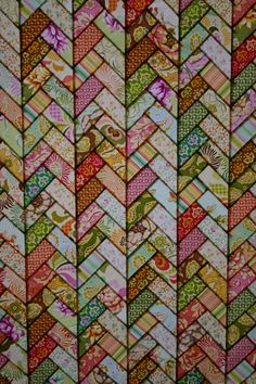 French Braid quilt, stained glass effect, at Crafty Wench