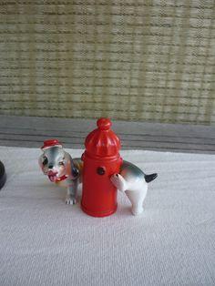 Vintage Ceramic Salt and Pepper Set, Dog and Fire Hydrant, Retro Kitchen