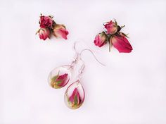 Real roses dangle and drop resin earrings Epoxy resin earrings
