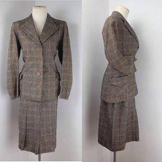 Original 1940s British Wool Check Suit UK 8 or 10