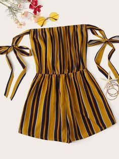 Striped Off The Shoulder Playsuit - Jumpsuits and Romper Cute Comfy Outfits, Cute Girl Outfits, Cute Summer Outfits, Girly Outfits, Outfits For Teens, Pretty Outfits, Stylish Outfits, Teenager Outfits, Girls Fashion Clothes