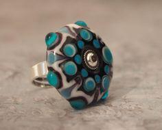 Black & White & Turquoise Lampwork Glass Mandala Ring