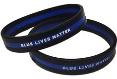 "Our silicone wristband features the Thin Blue Line running right down the middle of the design with ""Blue Lives Matter"" written in white block letters through the middle of the line."