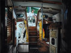 Cabin Fever by Robert W. Cook ~ watercolor ~ sailboat interior
