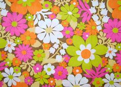 VINTAGE mod flower fabric lime pink orange by vintageinspiration