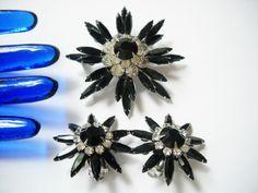 Signed JUDY LEE Demi Set Brooch Earrings Black Navette Marquise Rhinestone Clear Rounds Starburst Layered 1950s Reto Regency by FindCharlotte on Etsy