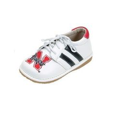 University of Nebraska Boys Size 4 by TQK. $29.99. Squeaky shoes are stylish and fun, and target little children approximately six months to three years of age. They are lined with soft leather and the shoes encourage children to walk. They are comfortable and flexible with non-skid soles. You can always hear where your child is, and the squeaker can be easily re-inserted by an adult. Squeaky shoes are a big hit with little fans everywhere!