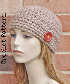 CROCHET HAT PATTERN Instant Download Pdf - Noor Button Beanie Hat Womens - Permission to Sell English Only