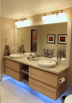 Ikea vanity with custom counter - Badezimmer - Bathroom Decor Custom Bathroom, Ikea Hack Bathroom, Kid Bathroom Decor, Ikea Bathroom, Ikea Vanity, Custom Bathroom Vanity, Ikea Bath, Bathroom Interior Design, Bathroom Kids