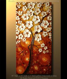 Abstract Tree Painting  48 x 24 Oil Painting Modern by Artcoast