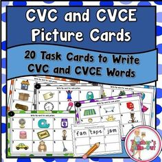 CVC and CVCE Picture Cards to write words from a picture prompt. Great for phonics and spelling. Common Core Education, Sounding Out Words, Cvce Words, Student Reading, Kindergarten Reading, Guided Reading, Classroom Activities, Learning Activities, Kids Learning
