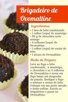 #brigadeiro #ovomaltine #chocolate #receita Bakery Recipes, Cake Decorating Tips, Experiment, Appetizers For Party, Food Hacks, Sweet Recipes, World Recipes, Food And Drink, Favorite Recipes