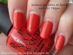 OPI Red Lights Ahead…Where? mit essence gel nails at home nach 10 Tagen