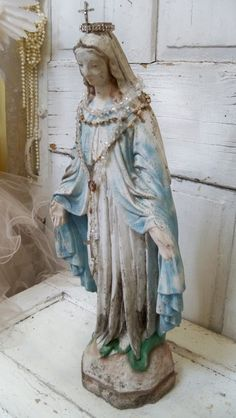 Large Virgin Mary cement statue with crown by AnitaSperoDesign, $240.00