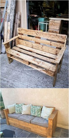 DIY Recycled and Reused Wood Pallet Projects – Wooden Pallet Ideas This pallet idea is something really different is all about the manufacturing of the bench arrangement of setting with the wood concept that. Pallet Garden Furniture, Outdoor Furniture Plans, Furniture Projects, Diy Furniture, Antique Furniture, Rustic Furniture, Recycled Furniture, Furniture Design, Palette Furniture
