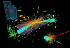 Representation of a Higgs boson decaying to two tau particles in the ATLAS detector. The taus decay into an electron (blue line) and a muon (red line).