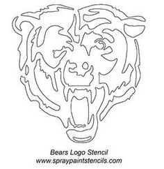 See the source image Bear Stencil, Pumpkin Stencil, Pumpkin Carving, Spray Paint Stencils, Stencil Painting, Stenciling, Chicago Bears Baby, Nfl Bears, Bears Football