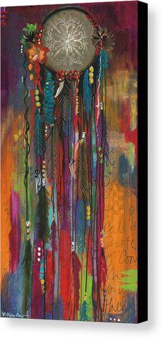 Single Dream Catcher Canvas Print by Allison Crow