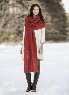 Wrap yourself in yards of cozy Woolstok. Fun to knit, fun to wear, the Endless Wrap is a long swath of lofty, textural knitted fabric. Panels of knit/purl and yarn over patterns make this a good next-step project for a beginner knitter. Pattern No. 201611